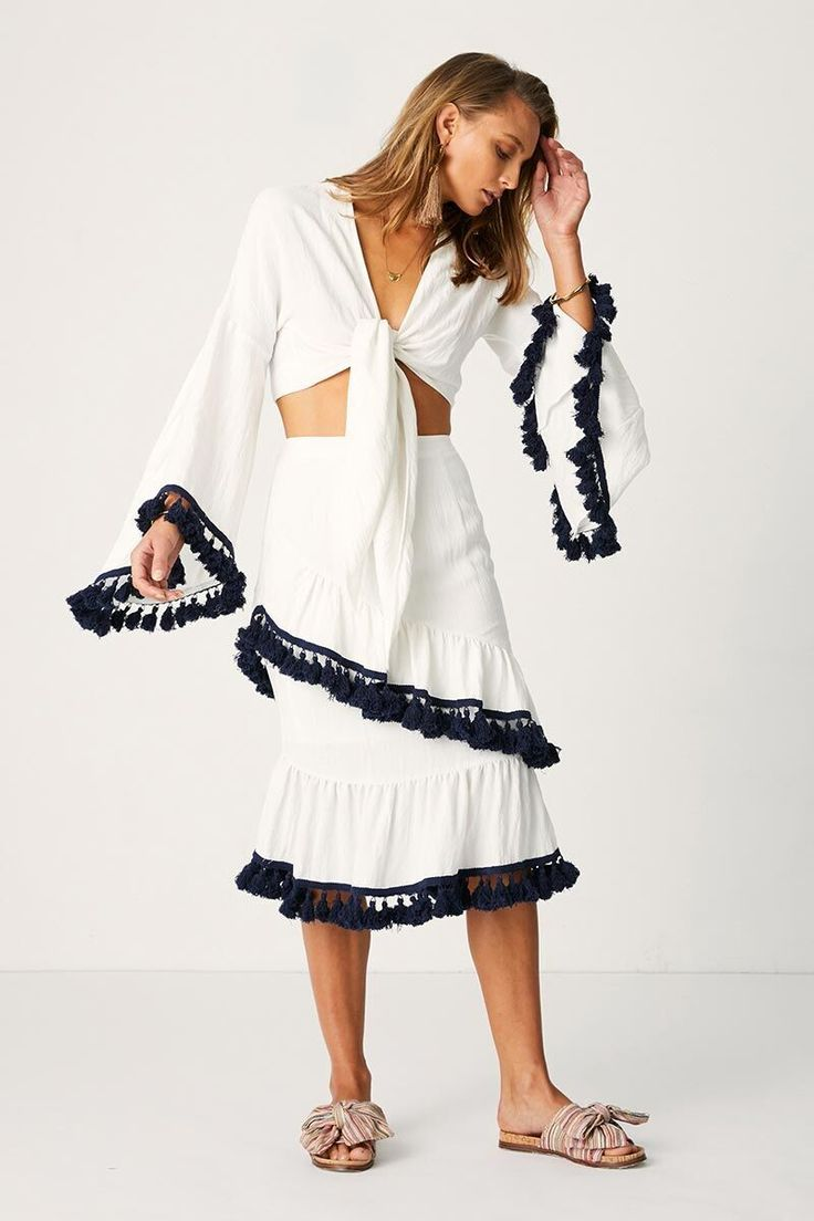 Suboo - Playa Frill Sleeve Tie Top - White