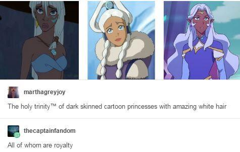 Queen Kida/Atlantis, Princess Yui/ATLA, and Princess Allura/Voltron Legendary