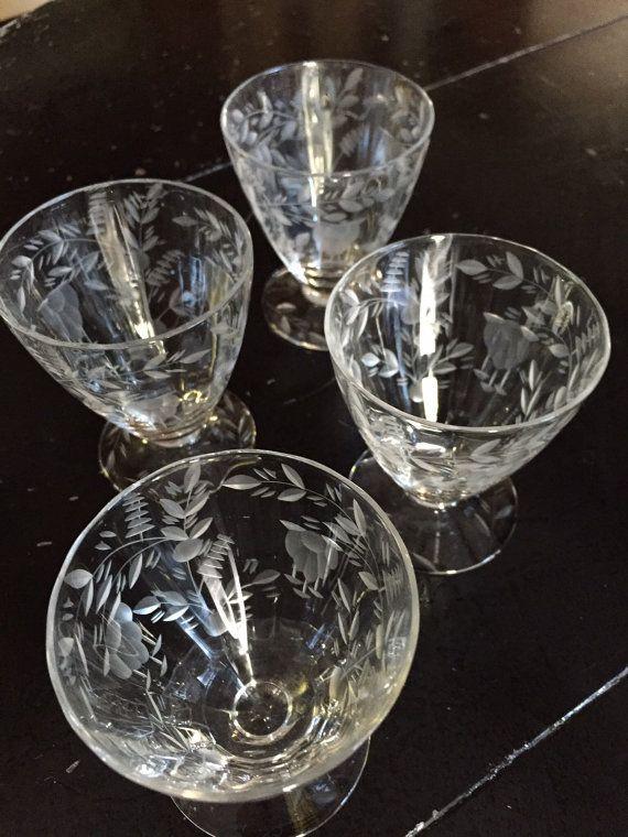 Vintage Etched Cut Floral Pattern Crystal by ...