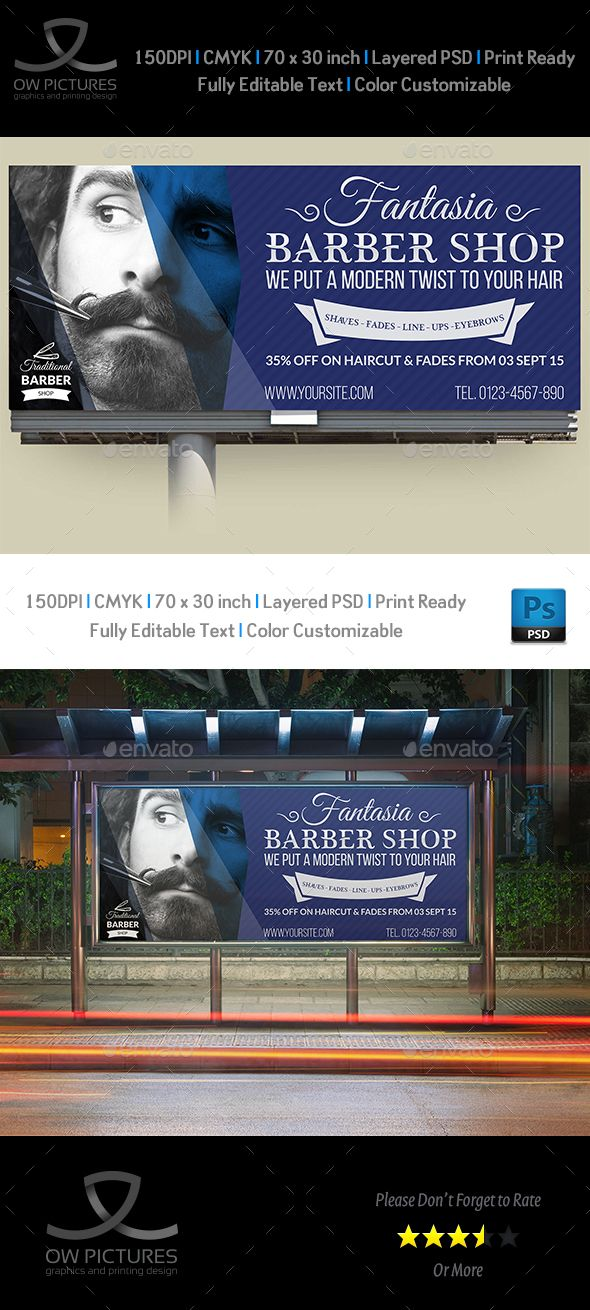 barber shop billboard template psd billboard templates pinterest