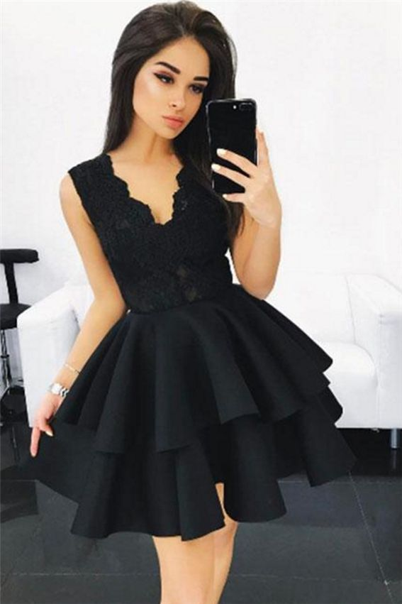 Black V Neck Lace Homecoming Dress,Ruffles Short Prom Dress,Lace Homecoming Dresses#lacedress #homecomingdresses #homecoming #short #shortdress #shortpromdress #promotion #prom #fashion #fashionstyle