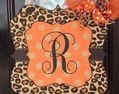Fall Door Hanger: Monogrammed Leopard Print Sign