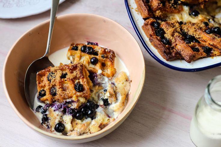Blueberry Cinnamon Waffle Pudding