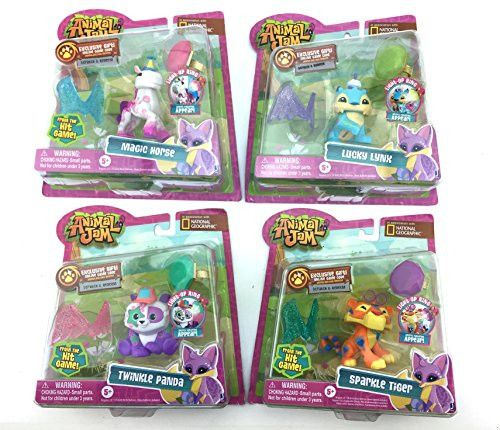 NEW! National Geographic Animal Jam COMPLETE COLLECTION Bundle with Magic Horse, Sparkle Tiger, Lucky Lynx, and Twinkle Panda INCLUDES 4 LIGHT UP RINGS, 4 ONLINE GIFT CODES!