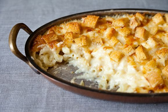 A Best Ever Mac'nCheese...from Martha Stewart via Food 52: Tweaks are to add a half-tablespoon of dry mustard and a bit of cayenne pepper to taste.  Panko crumbs are a good subsitute for the crouton topping for great crunch.