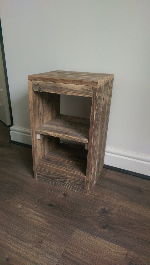 rustic pallet wood bedside table by ProjectUP on Etsy