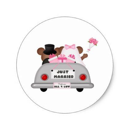 Wedding Car couple-Just married Classic Round Sticker - bride gifts bridal ideas unique personalize
