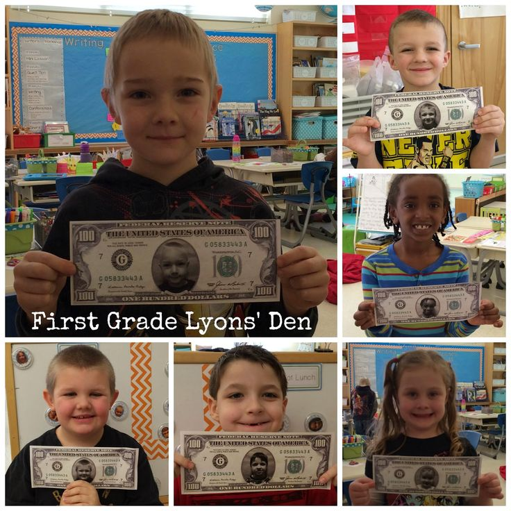 First Grade Lyons' Den: 100th Day - their face on the money!!!