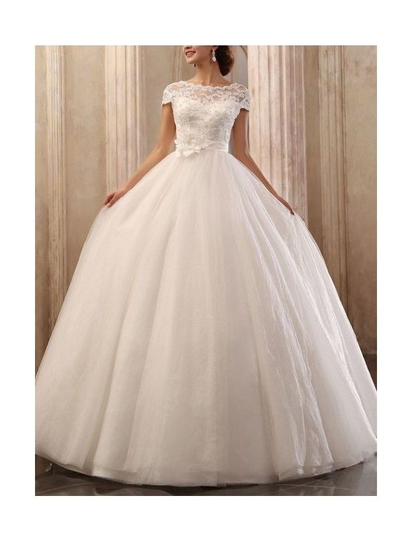 [$199.99] Tulle Bateau Neckline Ball Gown Wedding Dress with Cap Sleeves