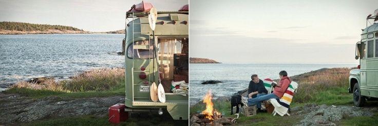 Der Retro Bus als Wohnmobil ist perfekt für Campingausflüge geeignet