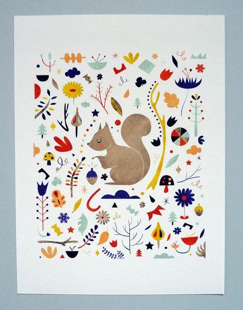 Little Squirrel. 18x24 cm print by Sarah Andreacchio: Cm Prints, 24X18 Patterns, Design Ideas, Squirrels Tattoo Patterns, Design Kitchen, Design Prints For Kids, Squirrels Prints, Sarah Andreacchio, Design Tattoo