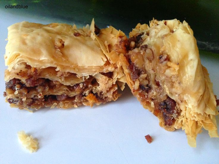 MAPLE BACON TOASTED PECAN BAKLAVA - http://oilandblue.blogspot.com/2014/08/bacon-maple-toasted-pecan-baclava.html