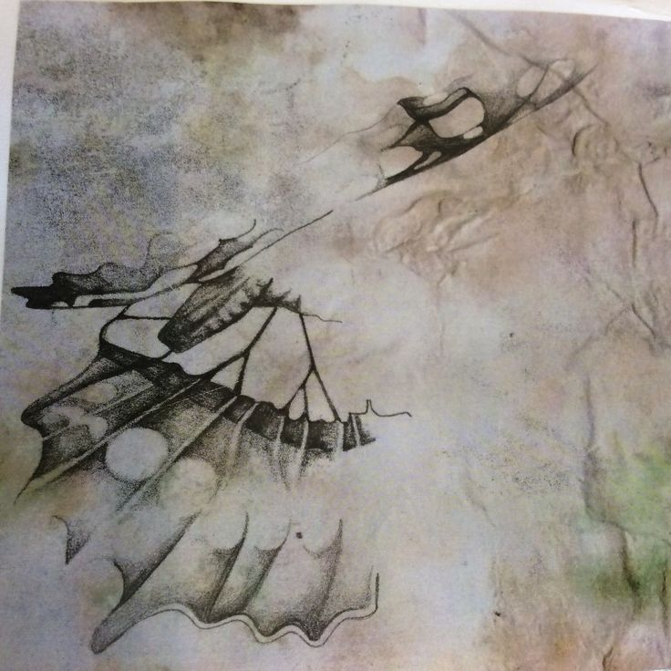 Mono print butterfly wing