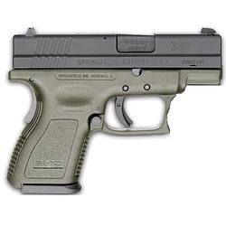 "Springfield Armory XD Sub Compact Semi Automatic Handgun 9mm 3"" Barrel 10 Rounds OD Green Polymer Frame Black Melonite Slide"