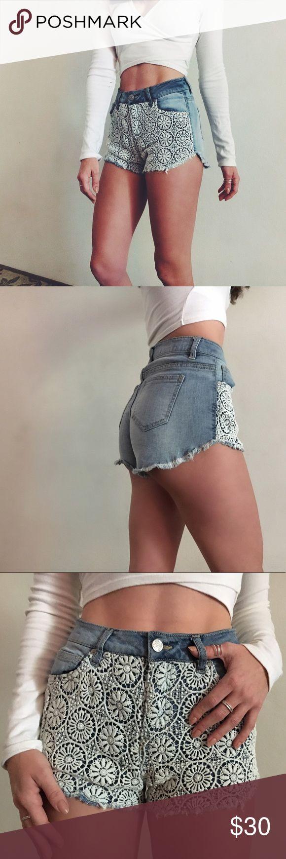 BRAND NEW crochet high waisted festival shorts!!! Brand new without tags crochet high waisted shorts perfect for festival season! Cheaper via 🅿️🅿️ Shorts Jean Shorts