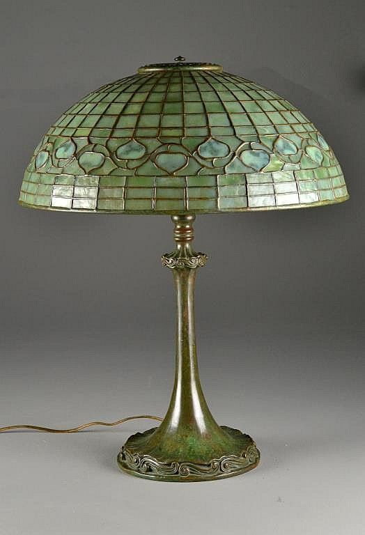Tiffany Studios, New York, Favrile Leaded Glass and Patinated Bronze