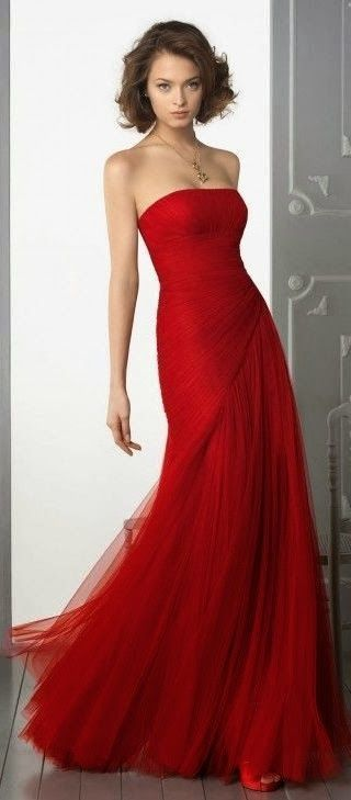 48192 Strapless Red Party Dresses