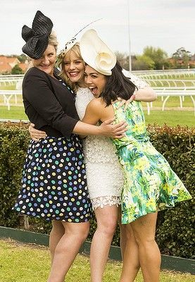 Left to right, #VirginiaGay, #KatherineHicks and #MelanieVellejo attend the Caulfield Cup Carnival day at Caulfield Racecourse on October 18, 2014 in Melbourne, Australia.