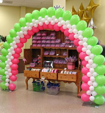 Green & Pink Balloon Arch