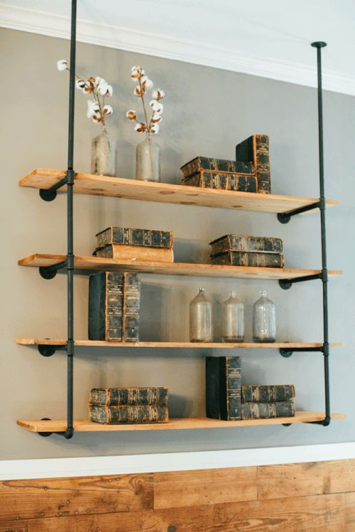 Love these shelves (I also love the show Fixer Upper)!  http://magnoliahomes.net/fixer-upper-season-2/season-2/episode-1/