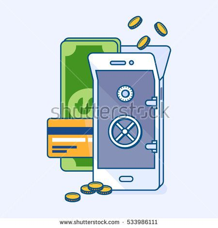 Flat line vector illustration of mobile money balance replenishment in bank vault online wallet for safe money. Phone banking with coins, banknote, credit card. eCommerce business finance concept