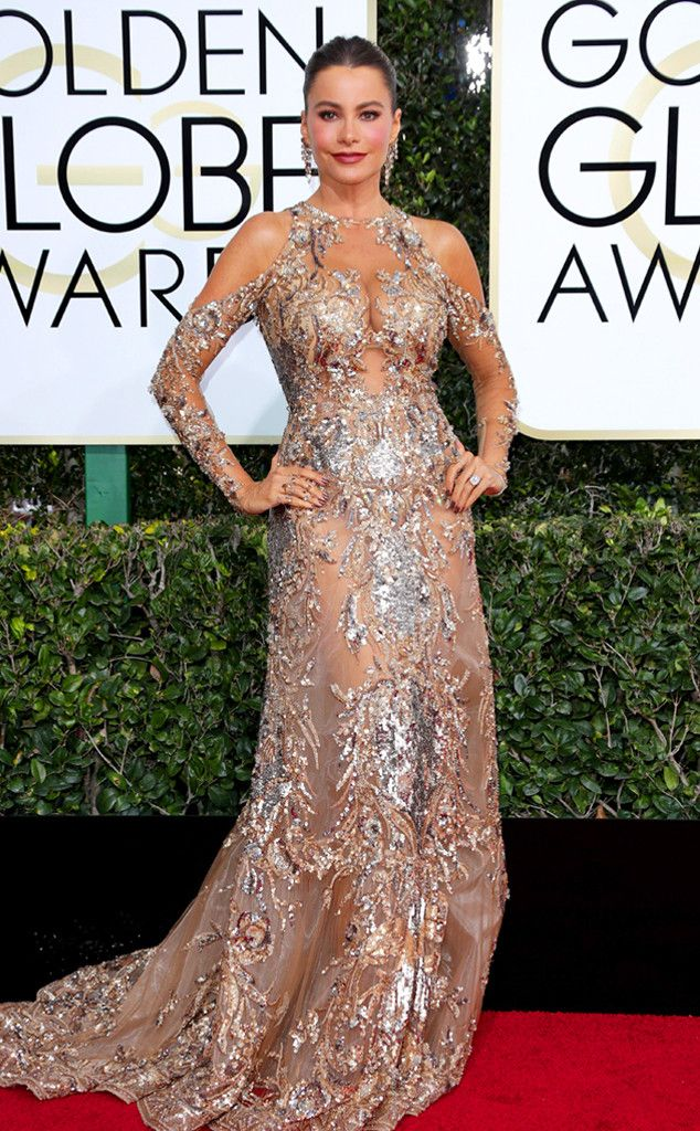 Sofia Vergara in Zuhair Murad at the 74th Annual Golden Globe Awards at The Beverly Hilton Hotel on January 8, 2017 in Beverly Hills, California.