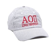Alpha Omicron Pi Seersucker Baseball Hat, Sassy Sorority Product, Sorority Gifts