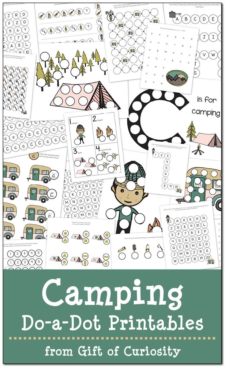 Free coloring pages camping theme - Camping Do A Dot Printables Free