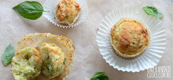 ZUCCHINI & BASIL MUFFINS: With Spring now here, these delicious zucchini and basil muffins make use of beautiful springtime produce. #onehandedcooks