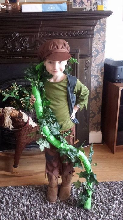 Jack and the Beanstalk made from a foam tube, tissue paper and artificial ivy wrapped around it.