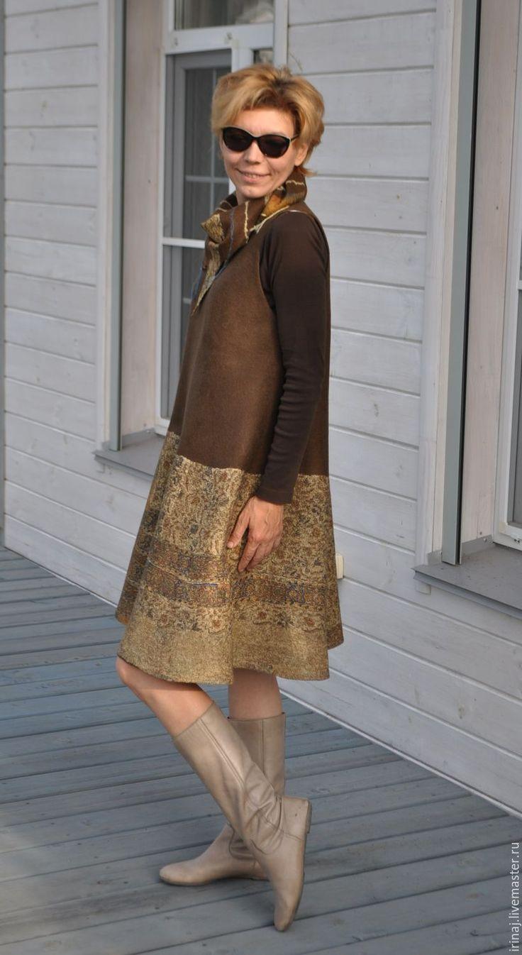 """Купить валяный сарафан """"Brown"""" - платье, платье валяное, платье авторское, платье ручной работы"""