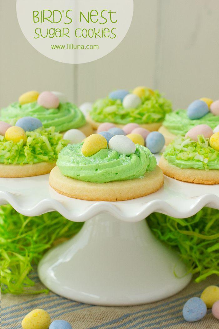 Super CUTE and DELICIOUS Bird's Nest Sugar Cookies - perfect for Easter! { lilluna.com }