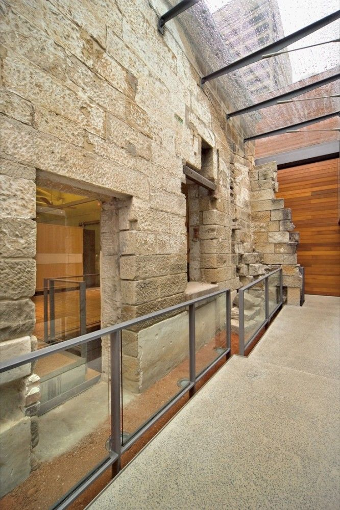 """The Mint / FJMT - part demolition of stone wall - """"layers"""" - new glass balustrades, canopy - steel>stone connections - glazed window insertion vs. wall opening - offset balustrade: sympathetic additions"""
