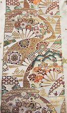 Vintage Japanese Kimono Wedding Obi Fabric Piece Ornamental Fans Flowers Garden