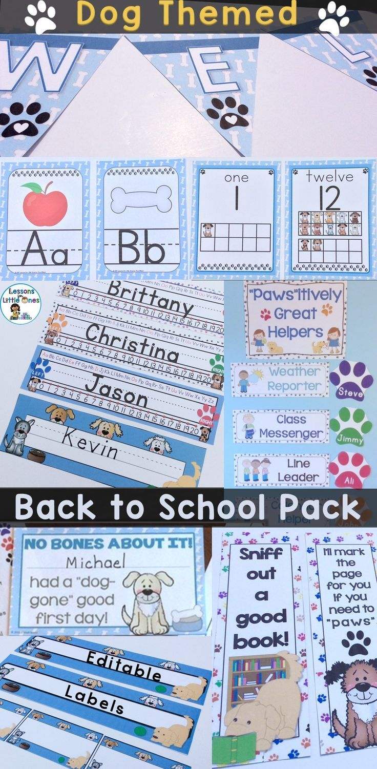 "Dog theme class decor, first day / week of school activities, welcome letters, first day awards, & more. Save time and have a back to school worth barking about with this EDITABLE pack that has everything needed for a ""paws-itively"" great first day of school."