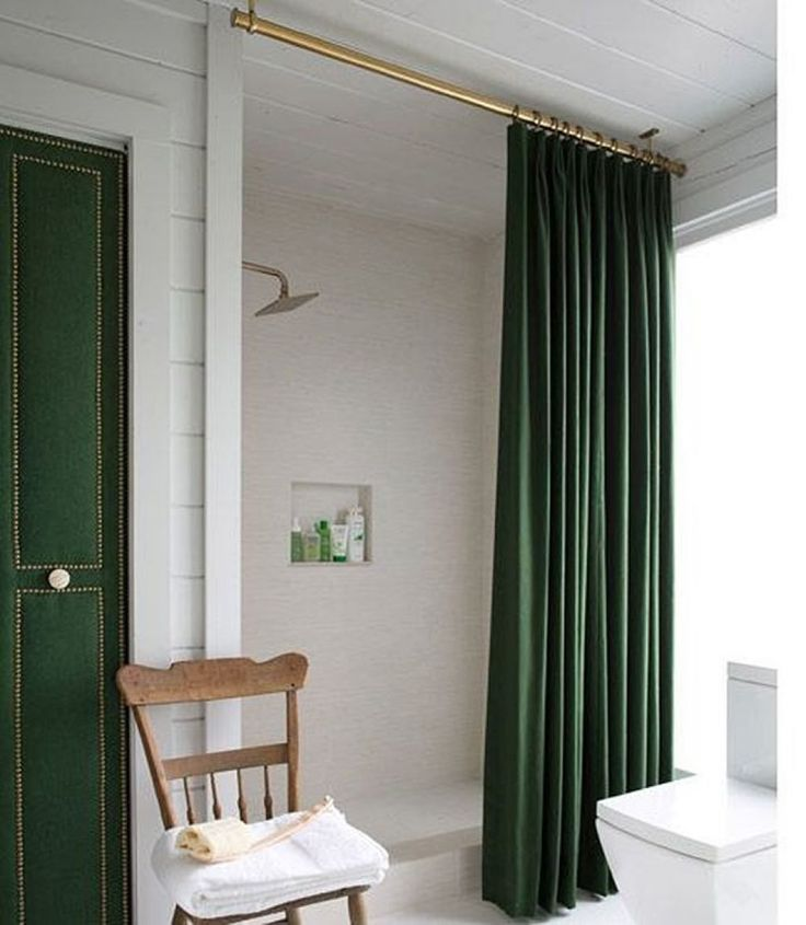 Stunning Bathroom With Forest Green Door And