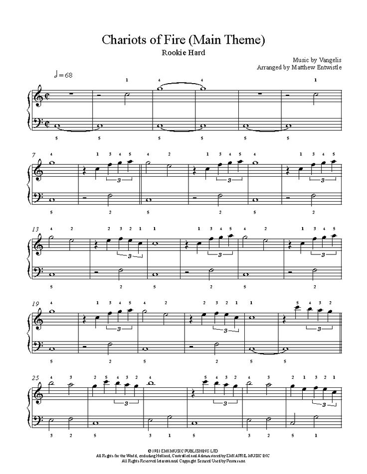 Chariots of Fire Main Theme by Vangelis Piano Sheet Music | Rookie Level