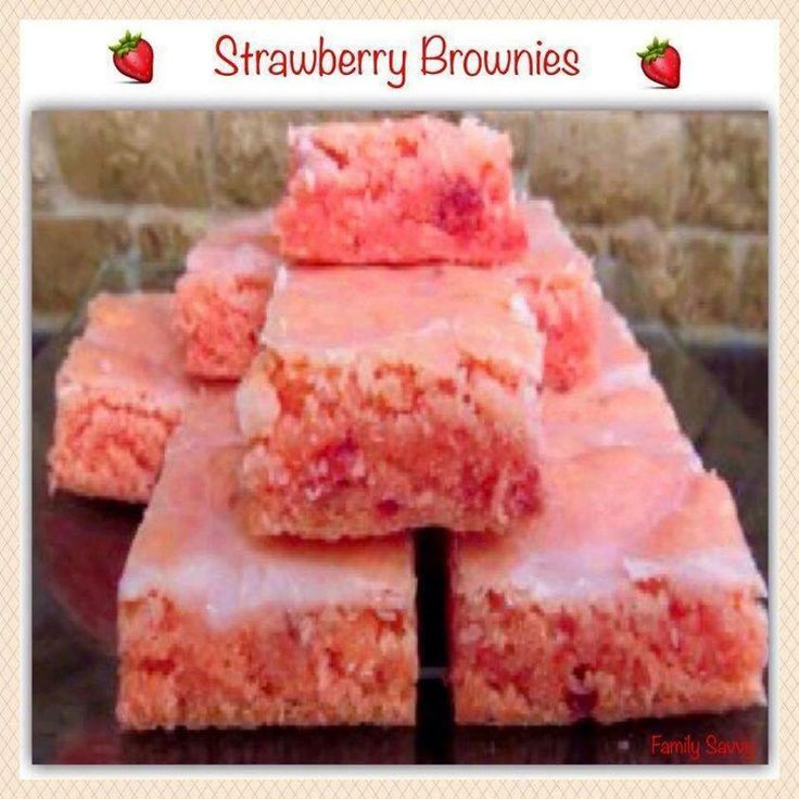 Strawberry Brownies - 1 box strawberry cake mix, 2 eggs, 1/3 cup oil, 1 cup powdered sugar, ½ -2 TB water. Instructions- Mix strawberry cake mix, eggs, and oil until well combined. Spread in 9 X 13 greased pan. Bake at 350 degrees for 15 minutes or until done in center. Mix powdered sugar and water, pour over top of brownies. They are the BEST!