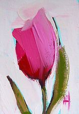 Pink Tulip no. 7 ACEO original floral oil painting by Angela Moulton