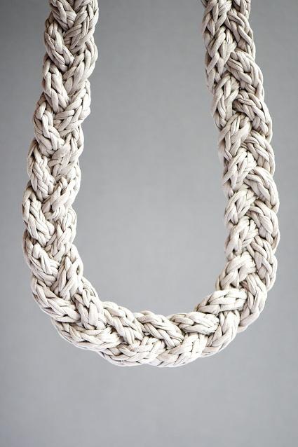 tutoriales collares de trapillo - Buscar con Google: Crochet Necklaces, Fabrics Yarns, Necklaces Tutorials, Crochet Hooks, Crochet Cords, Crochet Jewelry, Crochet Knits, Braids Necklaces, Cords Tutorials