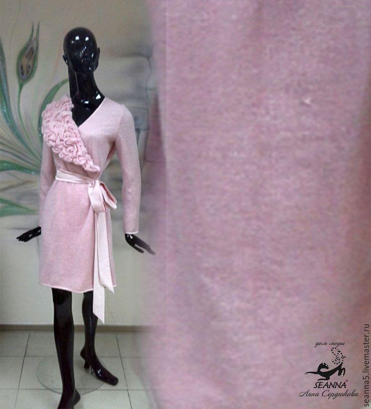 Купить Мягчайший трикотаж из кид-мохера вязаный ширина 80см цвет Сухая Роза - ткань