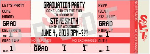 "Unique Graduation Invitations - ""Event"" Tickets $1.39"