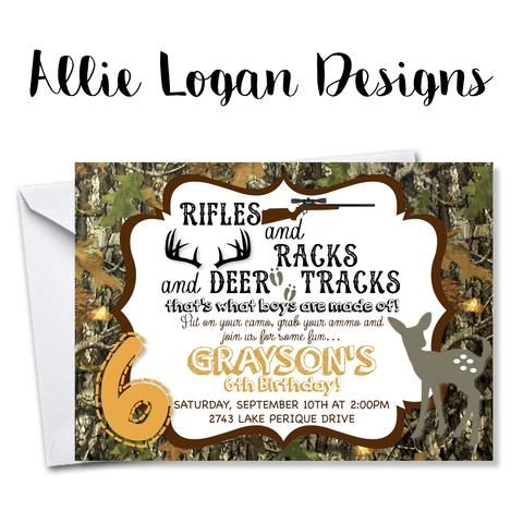 Camo and Ammo Birthday Invitation | Allie Logan Designs ...