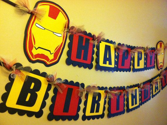 Iron Man Inspired Happy Birthday Banner by PaperPiecingDreams, $24.99