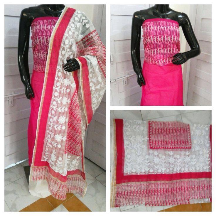 New designs in Aari Work dress materials. Aari designs on supernet kota material…