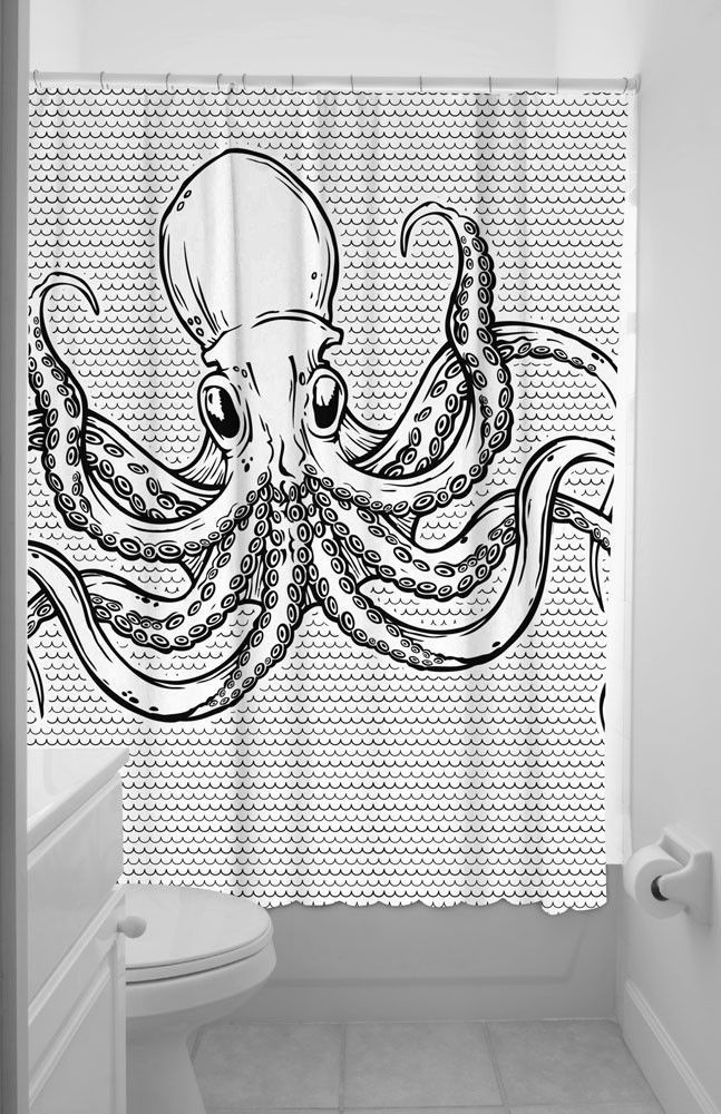 #SOURPUSS #OCTOPUS #SHOWER #CURTAIN #Black #White #Tentacles #Sea #Life #Ocean #Creature #SP #Sourpuss