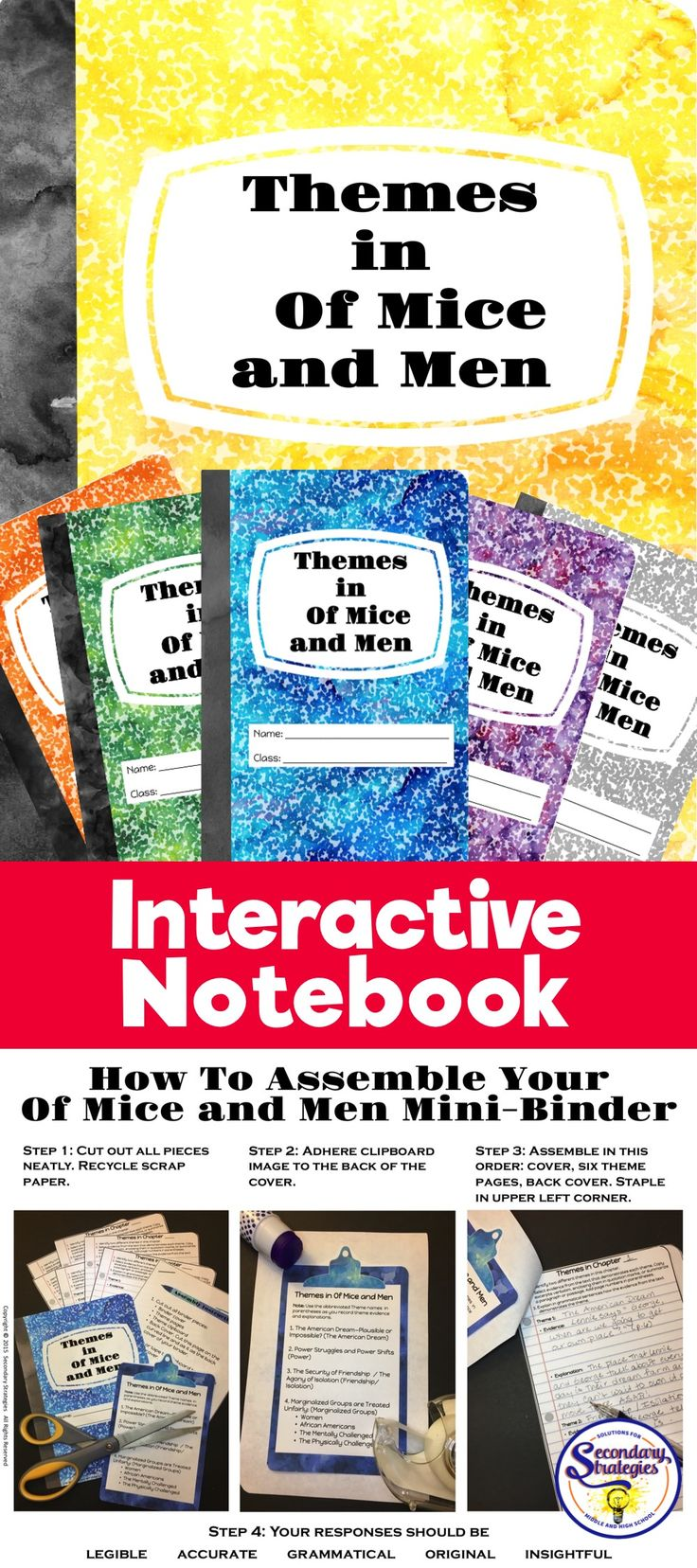 """Teach the themes in Steinbeck's Of Mice and Men with this hands-on, interactive Notebook """"Mini-Binder."""" Includes Themes PPT presentation, Teacher's Guide, and Examples of themes from Of Mice and Men. Minimal prep and takes only a few minutes to have students assemble. An excellent way to teach theme and to show students how to use elaboration to support evidence from the text."""