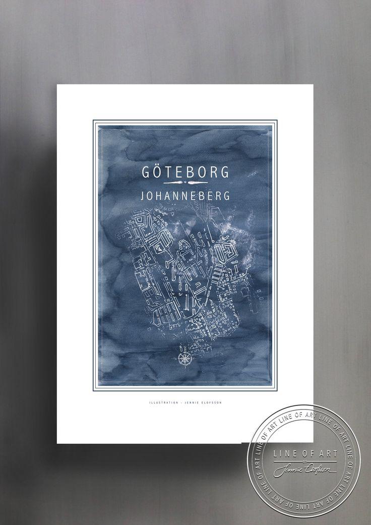 GÖTEBORG | JOHANNEBERG | BLÅ | © Line of Art by Jennie Elofsson Handtecknad karta med djupblå akvarell i bakgrunden. Finns i åtta färger och tre storlekar. In och hitta din favorit!    Hand-drawn map of Gothenburg - Johanneberg with a soft blue watercolor background. Available in eight colors and three sizes. Find your favorite!    Kartposter, map poster , print , poster , art print, illustration, lineofart, kalkfärg