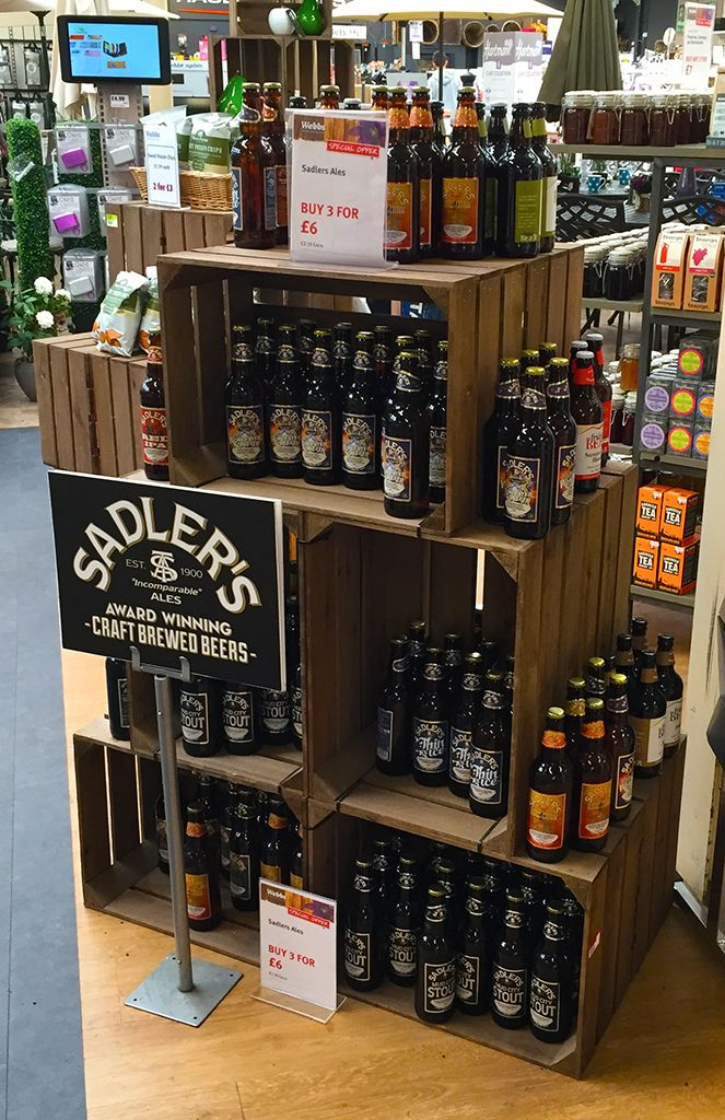 Great Sadlers Ales Brewery display at Webbs Garden Centre in Hagley using our rustic wooden crates
