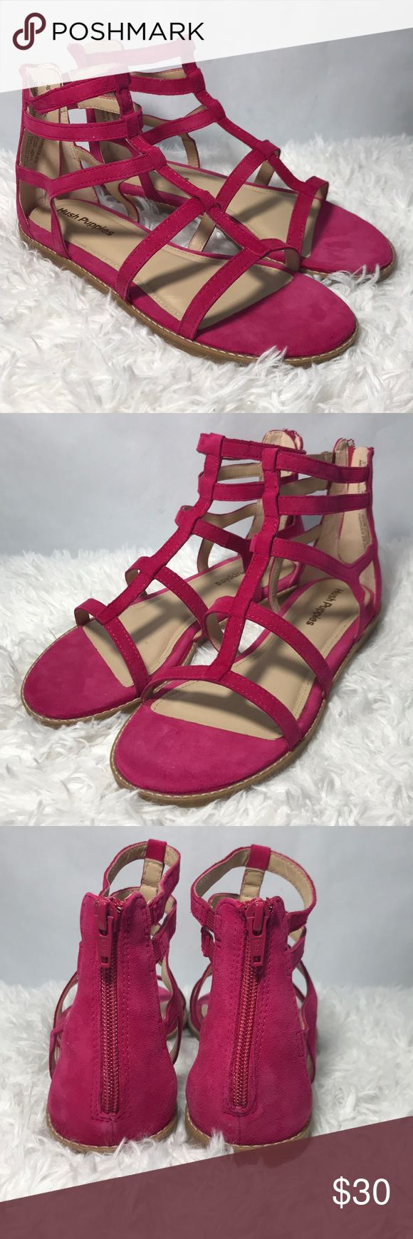 Hush Puppies Pink Strappy Sandals Persian Rose Suede Hush Puppies Sandals. New in box, only tried on, never actually worn. Size 8 Hush Puppies Shoes Sandals